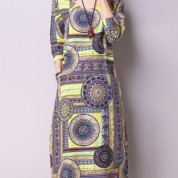 Streetstyle  Casual Tribal Printed Cotton/Linen Shift Maxi Dress