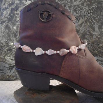 "SALE Boot Bracelet Southwest Style Indie Jewelry Hippie Boho Sundance White Veined Marble Shell Beads Adjustable Boot Bling 14.5"" to 17.5"""