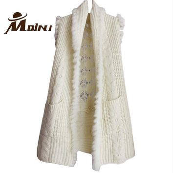 2018 Spring & Autumn Vest Rabbit Fur Shawl Women Sleeveless Knitted Sweater Hollow Out Casual Cardigan