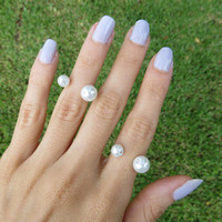 Open Double Pearl Style Midi Ring
