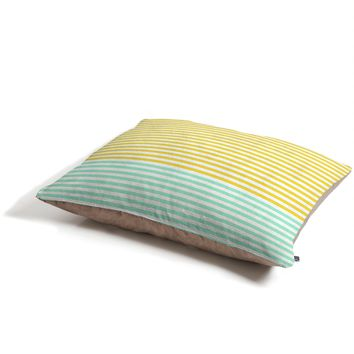 Allyson Johnson Mint And Chartreuse Stripes Pet Bed