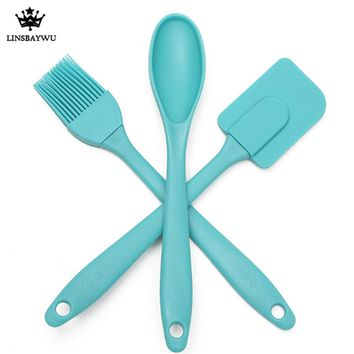 3PCS/Set Silicone Spatula Spoon Brush Kitchen Cooking Utensil Pastry Baking Mixing Tool Silicone Spatula Set