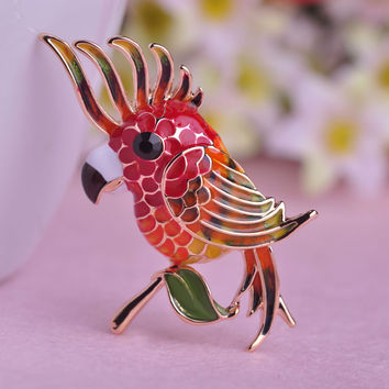 Colorful Parrot Brooch Pin
