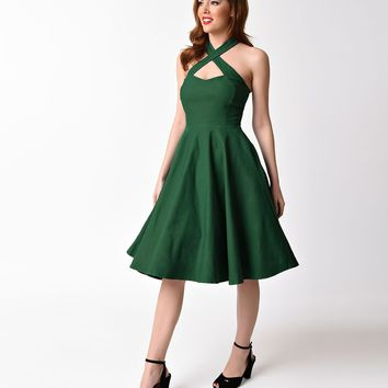 Unique Vintage 1950s Emerald Green Cross Halter Rita Flare Dress