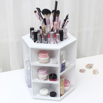 360 Degree Rotation Rotating Make up Organizer Cosmetic Display Brush Lipstick Storage Stand White Hot Selling