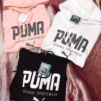 puma women fashion hooded top pullover sweater sweatshirt hoodie