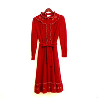 Long Sleeve Warm Vintage Dress Dark Red With Belt Ruffles Buttons Embroidery Dress, Ruffled Dress