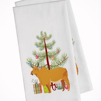 Zebu Indicine Cow Christmas White Kitchen Towel Set of 2 BB9192WTKT