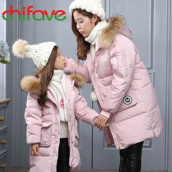 Mother and Daughter Matching Puffy Faux Fur Hooded Zipper Coat