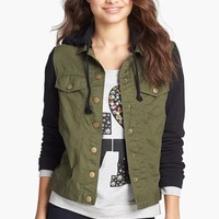 Jack Mixed Media Hooded Jacket (Juniors) | Nordstrom