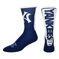 For Bare Feet New York Yankees Jump Key Crew Socks - Adult, Size: L (Ynk Team)