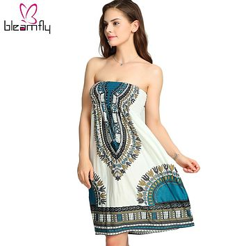 Summer Strapless Dress Sexy Beach Wear Casual Women Vintage Boho Style Slash Neck Off The Shoulder Dashiki Printed Dresses