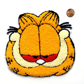 HUGE Bootleg High Garfield Chenille Backpatch red eyes 10""