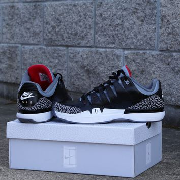 BC QIYIF Custom Nike Air X Jordan Zoom Vapor AJ3 Black Cement 70998-160 10.5 1 of 1