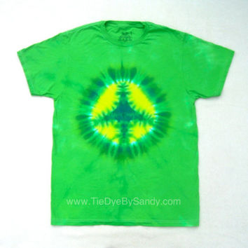 Tie Dye Shirt- Medium Green Peace Sign- Valentine's Day Gift for her- Valentine's Day gift for him