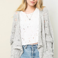 Free Form Chunky Knit Cardigan - Heather Grey
