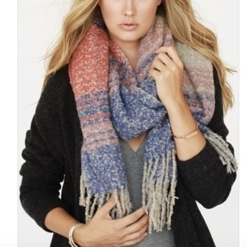Plaid Brushed Scarf - Blue/Coral