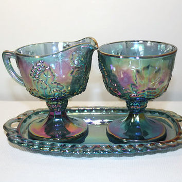 Carnival Glass Sugar and Creamer Set, Indiana Glass Harvest Grape, Iridescent Blue