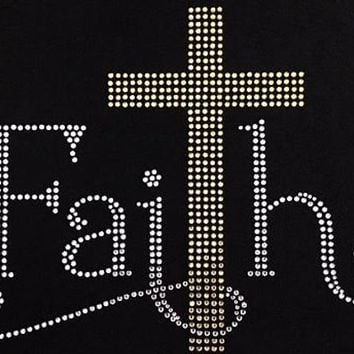 Rhinestone  T-Shirt - Faith T-Shirt | Rhinestone Tee | Rhinestone Tshirt | Faith T-Shirt | Faith Wear | Bible | Bling Shirt