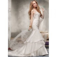 A-line Sleeveless Sweep Train Satin And Organza with Embroidery Wedding Dress [TWL120131004] - $183.99 : wedding fashion, wedding dress, bridal dresses, wedding shoes