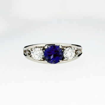 Blue sapphire and 0.50ct diamond filigree trinity ring, sapphire engagement ring, blue sapphire ring, filigree engagement, unique, vintage