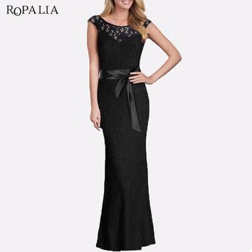 ROPALIA Vintage Dress Women Sexy Sleeveless Backless Lace Dress Bodycon Wedding Party Bridesmaid Long Maxi Dresses With Sashes