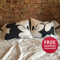 Couple organic cotton pillowcase, Hand drawing, Mickey and Minnie kiss, his and hers gifts, Disney bedding