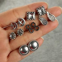 6 Pairs/set Fashion simple Bohemia style zircon /8/moon star/wing earrings 171120