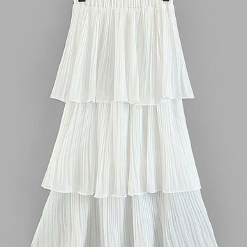 Tiered Ruffle Pleated Skirt