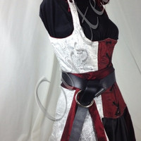 Hooded reversible steel boned assassin cut rogue corseted corset