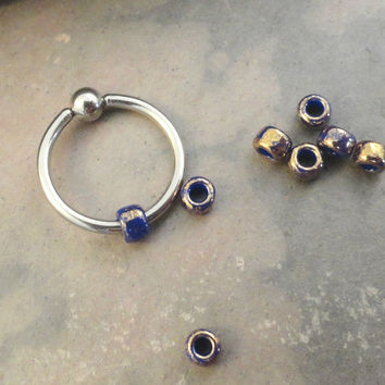 Copper and Cobalt Blue Beaded Cartilage Hoop Earring Boho Tragus Helix Piercing CBR