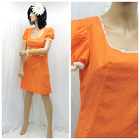 Vintage 60s orange polka dot baby doll dress S mod 1960s home sewn retro orange babydoll dress size 5 / 6 SunnyBohoVintage