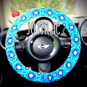 Steering Wheel Cover Tribal Diamond IKat in Royal Blue, Turquoise and White