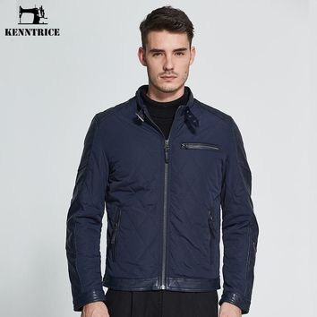 Kenntrice Spring Autum Parkas Men Puffer Jackets Wadded Jackets Men Cotton Padded Coats Leather Coat Coffee Blue Plus Size M-3XL