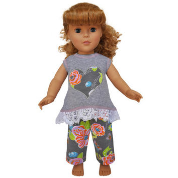ANNLOREN Heart legging/tunic set DOLL set