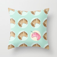 Be Yourself - unicorn pattern on mint Throw Pillow by Perrin Le Feuvre