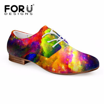 FORUDESIGNS 3D Galaxy Space Star Pattern  Oxford Shoes 's Lace-up Dress PU Shoes Flats Ladies Oxfords Shoes Zapatos