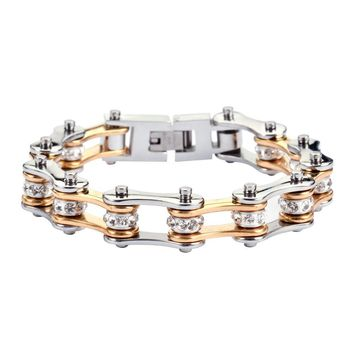 Gold and Silver Stainless Steel Chain Bracelet with Rolling Crystals