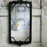 P A R I S  Apartment Style Mirror  Rectangle Ornate Glossy Black Vanity
