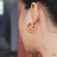 Tribal Fake Gauge Wood Earring, Small Spiral Tribal Earrings, Handmade Spiral Wooden Earring