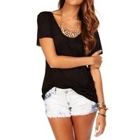 Black Short Sleeve Basic Tee