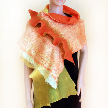 Handmade nunofelted scarf wrap shawl capelet The green, mint, olive,  yellow, orange Flower pin brooch Ready  to Ship