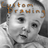 Custom DRAWING BABY portrait graphite drawing art, unique custom pencil order original drawing black white handmade art on paper, commission