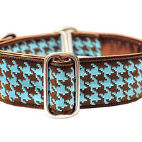 Martingale Collar: Classic Houndstooth (1.5 Inch), Brown and Blue, Dog Collar, Greyhound Collar, Custom Dog Collars
