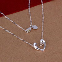SALE-Sterling Silver Necklace Heart Necklace Chain Necklace Love Necklace Elegant Necklace