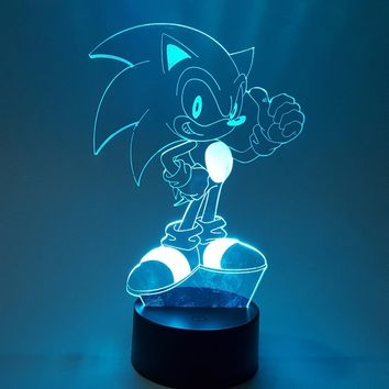 New Sonic 3D Nightlight Visual Illusion LED RGB Changing Sonic The Hedgehog Action Figure Light Toy For Children Christmas Gift