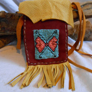 Handsewn, Handstitched Leather Shoulder Bag, Hand Beaded Butterfly Design, Rich Red and Gold Leather, OOAK, Native American Inspired