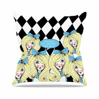 "Zara Martina Mansen ""Curious Alice"" Blue Black Throw Pillow"
