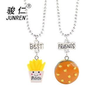 2 Pcs/Set Fast Food Shape potatoes Necklace Women Men Hamburg French Fries Pendant Necklace Jewelry Best Friend Boys Girls Gift