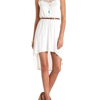 Lace Yoke Belted High-Low Dress by Charlotte Russe - White
